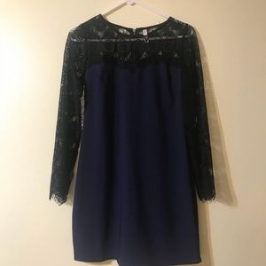 Dress with lace top and sleeves